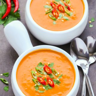 Spicy Thai Pumpkin Soup (Keto, Vegan, Gluten-Free)