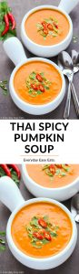 Thai Spicy Pumpkin Soup image collage with title text overlay.