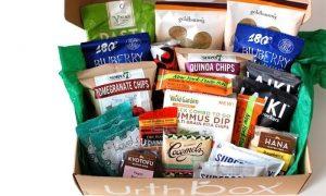 Open UrthBox showing snacks inside box