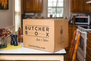 ButcherBox Grass-Fed, Organic Meat Delivery Review: Closed ButcherBox on table