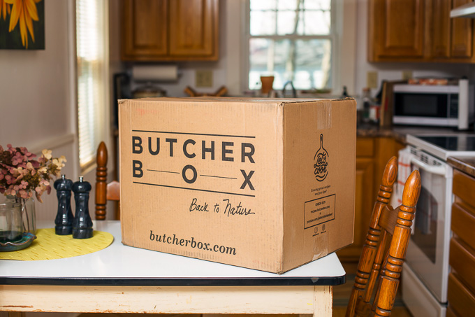 ButcherBox Review: Closed ButcherBox on table