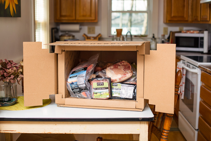 ButcherBox Grass-Fed, Organic Meat Delivery Review: Open ButcherBox on table