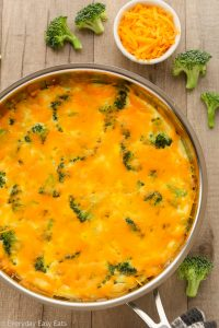 Close-up overhead view of Broccoli Cheese Frittata in a skillet on a wooden background.