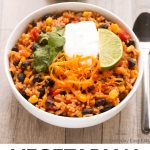 Vegetarian Burrito Bowl image with title text overlay.