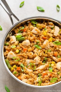 Close-up overhead view of a skillet of Chicken Fried Rice on a neutral background.