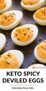 Overhead view of spicy deviled eggs on a dark background with title text overlay.