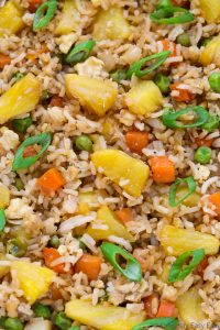 Very close-up, zoomed-in overhead view of Pineapple Fried Rice.