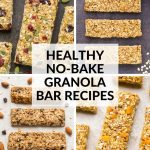 Healthy No-Bake Granola Bar Recipes Collage with Title Text Overlay