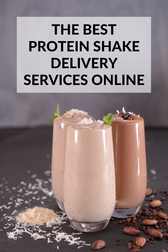 The Best Protein Shake Delivery Services Online: Variety of Protein Shakes in Glasses with Title Text Overlay