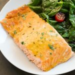 Overhead view of Baked Honey Mustard Salmon with title text overlay.