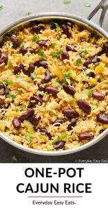 Close-up overhead view of Cajun Rice in a silver skillet with title text overlay.