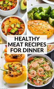 Healthy Meat Recipes for Dinner photo collage with title text overlay.